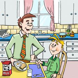 dad giving Moe breakfast